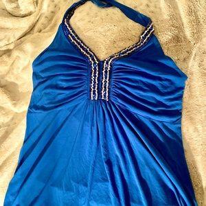 Blue halter top w/ pearls on the neckline.